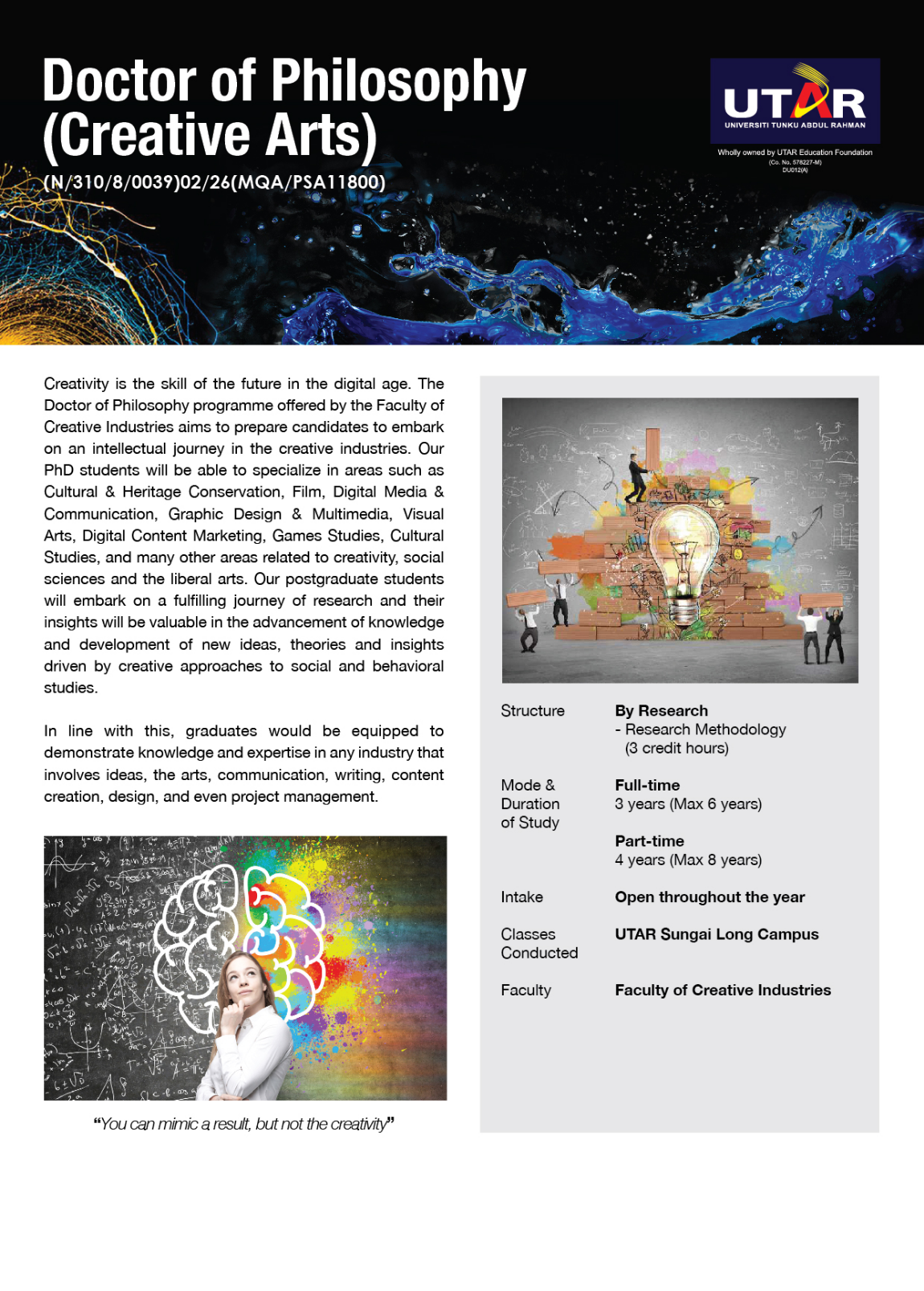 PhD degree in Creative Arts flyer page 1