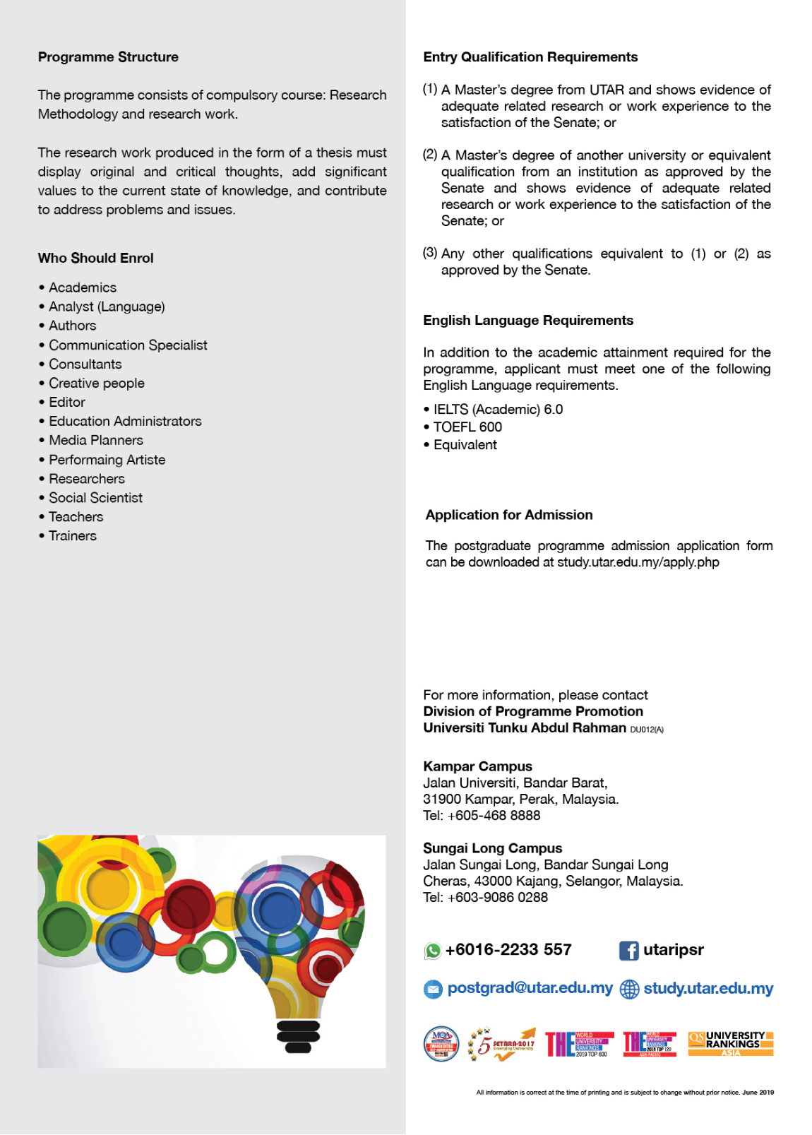 PhD degree in Creative Arts flyer page 2