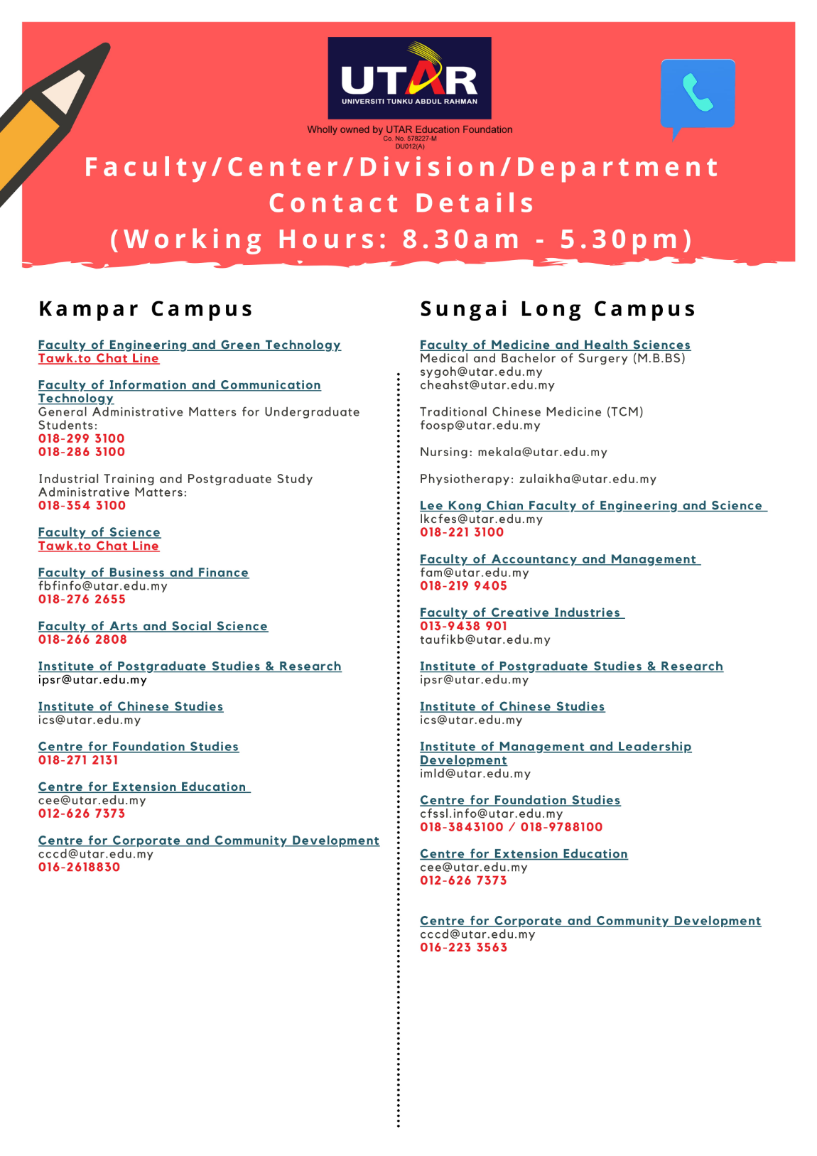 contact of various faculty institute centre in utar