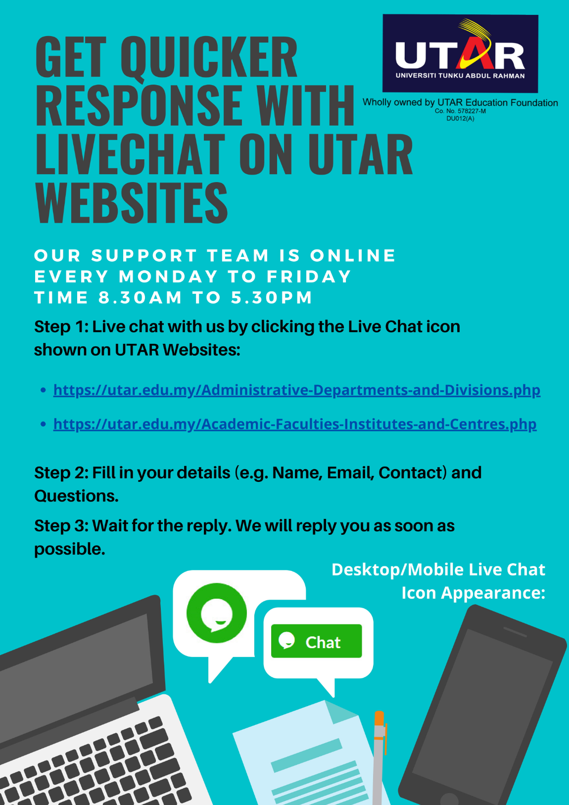 live chat with utar faculty institute centre division department